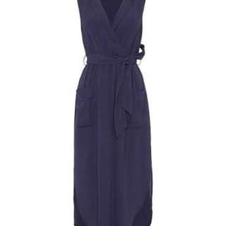 Bardot Navy Sleeveless Shirt Dress