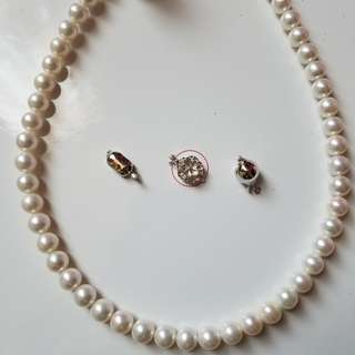 """Genuine Fresh Water Pearl Necklace with Silver Clasp ( 18""""long, 8.2~9.3mm )"""