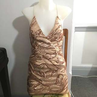 Showpo Rose Gold Sequin Dress