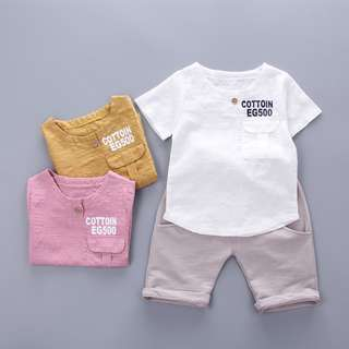 kids boys toddler simple top + grey pants 2 pieces set