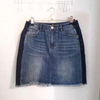 Two Tone Denim Skirt - MISSGUIDED