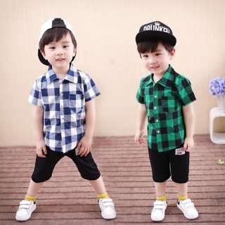 kid boys toddler checkered shirt + pants 2 pieces set