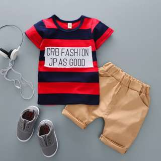kid boys toddler stripe t-shirt + short pants 2 pieces set
