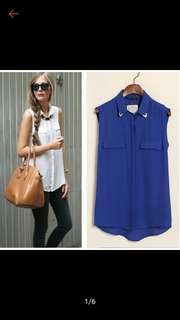 Chiffon sleeveless polo