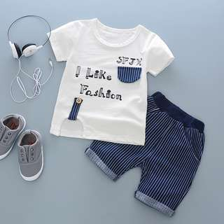 kids boy toddler t-shirt + pants 2 pieces set I Like Fashion stripe