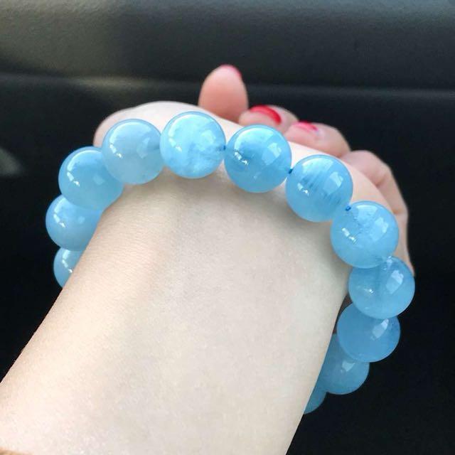 天然海藍寶手珠💖晶體透、顏色藍、13.5mm 補水利睡眠,此款屬於客製化商品