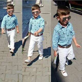 kid boys smart long sleeves blue white checkered + belt + white long pants 3 pieces