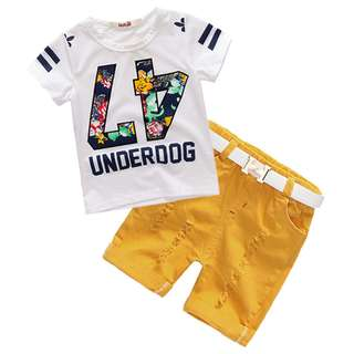 kid boys number white T-shirt + yellow scratched short pants + belt 3 pieces set