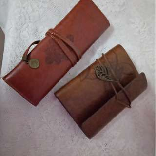 Twilight pencil case / Vintage leather journal  (FREE SHIPPING!)