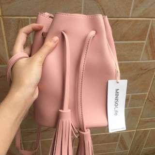 Miniso bucket bag pink