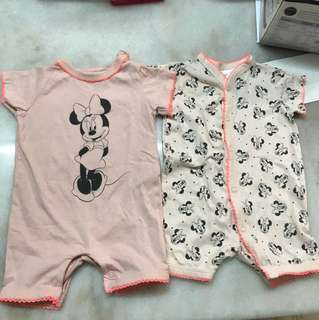 Pair of H&M short sleeved Minnie Mouse Disney (1-2m) rompers