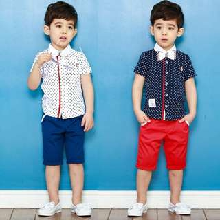 kid boy polka dot bowknot short sleeves shirt + short pants 2 pieces set