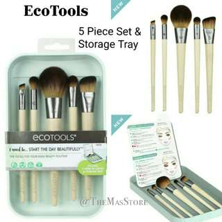 EcoTools - start the day beautifully brush set, 5 piece set & storage tray