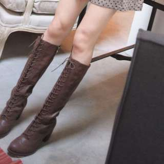 9成新轉賣kiyumi韓國雜誌推薦款名媛時尚顯瘦交叉綁帶高跟牛津長靴36