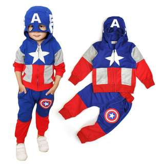 kid boy captain america sport wear costume jumpsuit hoodie 2 pieces set