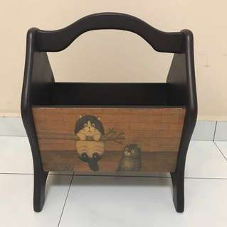 Rustic Primitive Vintage French Country Cats Wooden Book Caddy/Craft Storage/TV Remote Magazine Newspaper Storage Rack