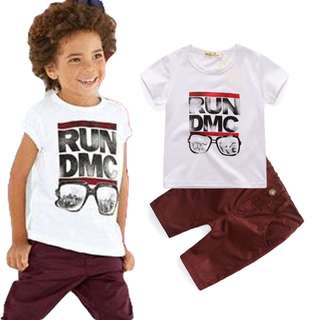 kid boy cool printed white T-shirt + khaki brown short pants 2 pieces set