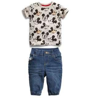kid boy mickey print short sleeves T-shirt + half long denim jeans 2 pieces set