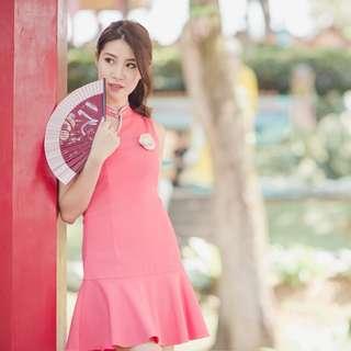 [FABFAD] Oriental Affair Toga Cheongsam - Pink