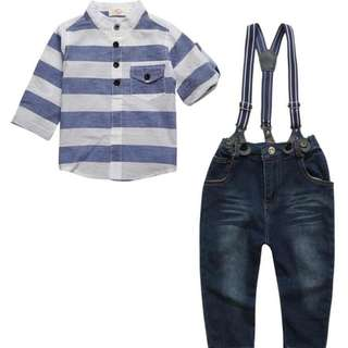 kid boy thin linen stripe shirt top + harness long denim jeans 2 pieces set