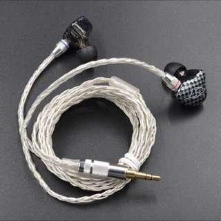 Braided Plated silver Upgrade Cable  For  KZ ZST