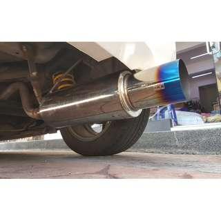 HKS hi power straight flow loud and bassy exhaust muffler, titanium exhaust tip