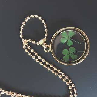 Gold crystal glass dried four leaf clover necklace