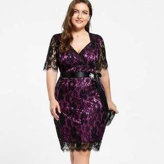 Plus size purple and black lace dress
