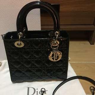Lady Dior 黑色 漆皮 5格 Patent Bag 手袋 銀扣