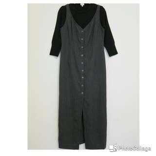 深灰色背心長窄裙