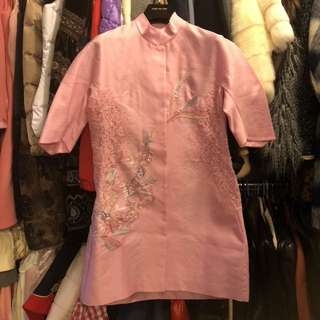 Shiatzy Chen pink embroidery with lace dress jacket size 38