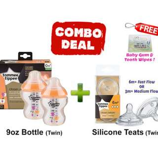 TOMMEE TIPPEE TWIN BOTTLE AND TEATS COMBO DEALS! - ORANGE APPLE
