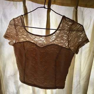 Lace nude crop top