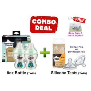 TOMMEE TIPPEE TWIN BOTTLE AND TEATS COMBO DEALS! - GREEN BEE
