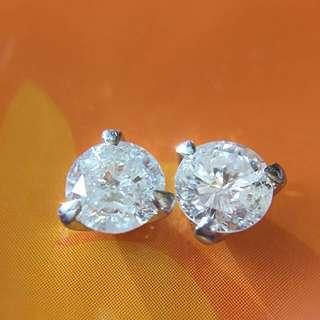 靚靚鉑金 天然鑽石 0.62ct + 0.64ct 😱 耳環 耳釘一對