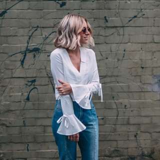 Missguided White wide sleeve top