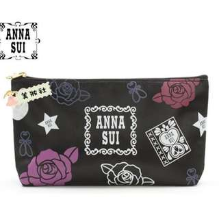 【Anna sui】玫瑰花圖案收納包:黑色 ($28)