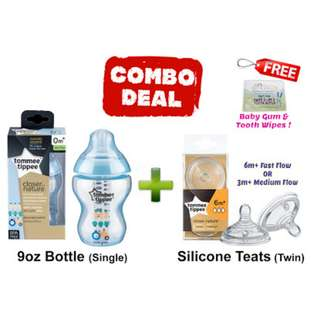 TOMMEE TIPPEE 9OZ BOTTLE AND TEATS COMBO DEALS! - BLUE CARROT
