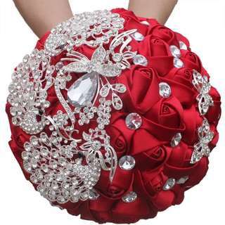 Luxury crystal bling bling bridal bouquet with shining crystal red/ cream/ purple