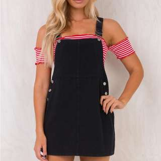 Black overall dress pinafore