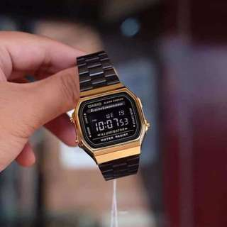 Casio vintage black gold