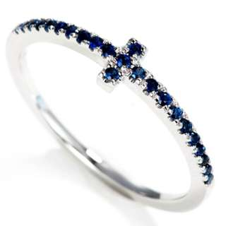 Cross Design Natural Sapphire Wedding Band 18K Solid White Gold Matching Rings For Women Gold Gemstone Ring Fine Jewelry