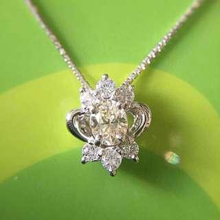 靚靚 Platinum Pt850 鉑金天然鑽石吊嘴 吊咀 連頸鏈