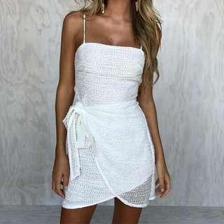 White tie up dress