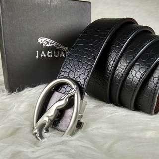 Ikat pinggang pria rel kulit Jaguar import tombol