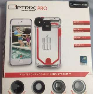 Optrix Pro for IPHONE 5 5S SE Waterproof Case 4 interchangeable lens