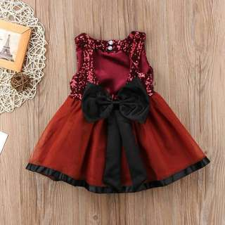 Heart Back Big Bow Tulle Sequins Dress in Red