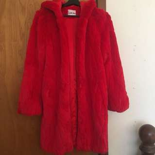Red fluffy hooded coat