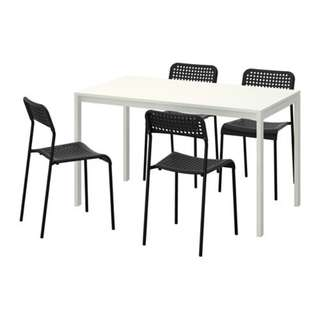 Ikea MELLTORP Dining Table with 4 units ADDE Chairs