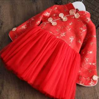 兒童毛呢連衣裙女童滿繡花朵網紗長袖裙子冬季加絨加厚新年公主裙
